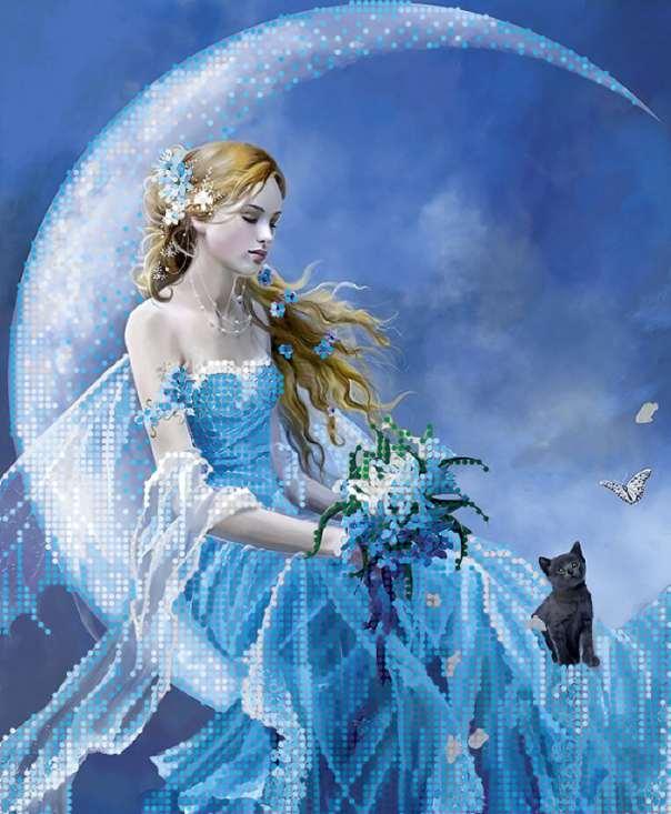 """Fata della Luna"""". Schema ricamo a perline   Perlinissima"""
