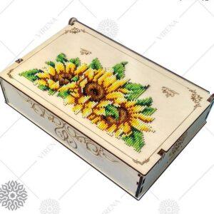 """""""Girasoli"""". Organizzatore di legno ricamo a perline"""