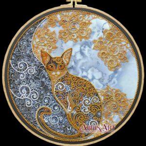 """""""Gatto di Luna"""". Kit ricamo a perline"""