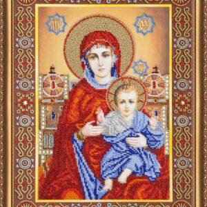 """""""Madonna in trono con il bambino"""". Kit-icona ricamo a perline"""