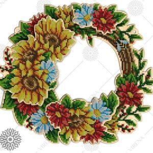"""""""Corona di fiori"""". Corona di legno ricamo a perline"""