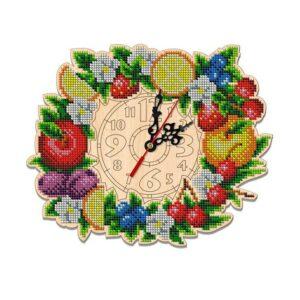 """""""Frutta"""". Kit-orologio di legno ricamo a perline"""